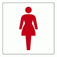 トイレ表示アクリル板 大150mm角 女子 (842-63)