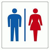 トイレ表示アクリル板 大150mm角 男女 (842-64)