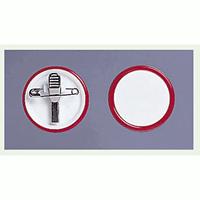 ネームバッジ 赤 用紙:Φ40mm 10個1組 (850-65)