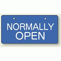 バルブ開閉表示板 ヨコ型 NORMALL OPEN 60×120 5枚1組 (856-38)