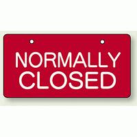 バルブ開閉表示板 ヨコ型 NORMALL CLOSED 60×120 5枚1組 (856-39)