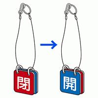 バルブ開閉表示板 両面 マグネットロック式 青開/赤閉 5セット1組 (857-60)