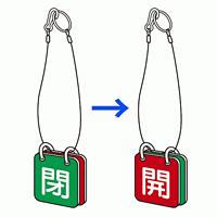 バルブ開閉表示板 両面 マグネットロック式 赤開/緑閉 5セット1組 (857-62)