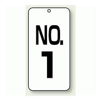 数字表示板 配管バルブ表示 NO,1 80×40 2枚1組 (859-01)