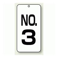 数字表示板 配管バルブ表示 NO,3 80×40 2枚1組 (859-03)