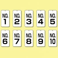 数字表示板 配管バルブ表示 NO,1?NO,10 10枚1組 (859-15)
