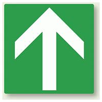 矢印ステッカー 緑・上矢印 100角・5枚1組 (862-33)