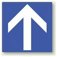 矢印ステッカー 青・上矢印 100角・5枚1組 (862-35)