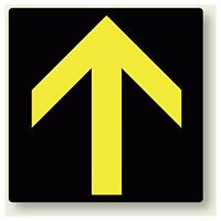 矢印ステッカー 黒&黄色・上矢印 100角・5枚1組 (862-37)