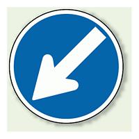 道路標識 (構内用) 指定方向外進行禁止 左下矢印 アルミ 600φ (894-10)