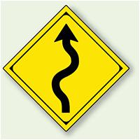 警告標識 つづら折あり アルミ 一辺 450 (894-39)