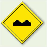 警告標識 路面凸凹あり アルミ 一辺 450 (894-43)