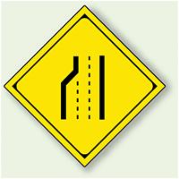 警告標識 車線数減少 アルミ 一辺 450 (894-45)
