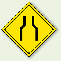 警告標識 幅員減少 アルミ 一辺 450 (894-46)