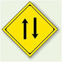 警告標識 二方交通 アルミ 一辺 450 (894-47)