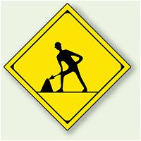 警告標識 道路工事中 アルミ 一辺 450 (894-48)