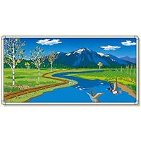 イラストパネル 川とカモ 870×1740mm (902-64)