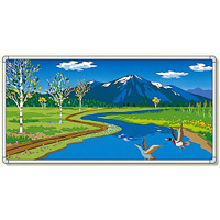 イラストパネル 川とカモ 1740×3480mm (903-64)