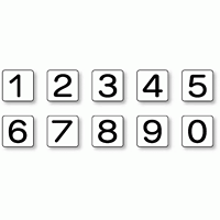 JIS安全表示ステッカー 数字表示 1~0 大 10枚1組 (AS-24-20L)