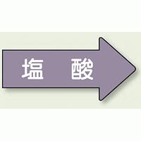 JIS配管識別方向ステッカー 右向き 塩酸 大 10枚1組 (AS-44-3L)