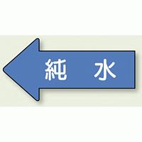 JIS配管識別方向ステッカー 左向き 純水 大 10枚1組 (AS30-4L)