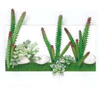 3Dアート多肉植物 (人工観葉植物) 高さ19.5cm 光触媒 (392A30)