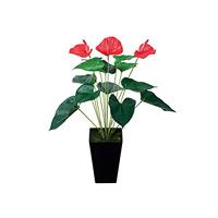 アンスリューム (人工観葉植物) 高さ53cm 光触媒 (437A40)