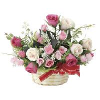 フレアローズ (造花) 高さ23cm 光触媒 (695A35)