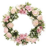 ローズリース ピンク (壁掛タイプ) (造花) 高さ28cm 光触媒 (766A30)