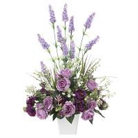 ソフィアラベンダー (壁掛タイプ) (造花) 高さ64cm 光触媒 (842A90)