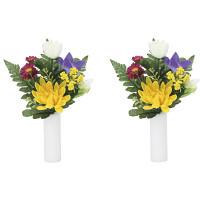 ご仏壇お供花 上仏花小2個セット 高さ23cm 光触媒 (856A18)