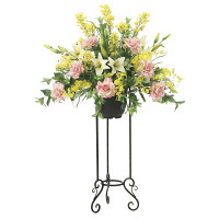 【送料無料】【2020年新商品】フレッシュローズスタンド (造花) 高さ123cm 光触媒機能付 (2048A450)