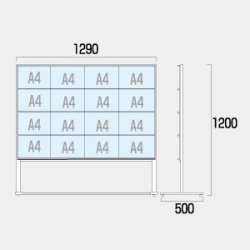 カードケースメッセージスタンド ハイタイプ 仕様:A4横16 片面 (CCMS-A4Y16KH)