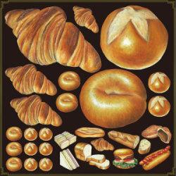 パン(2) 看板・ボード用イラストシール クロワッサン(W285×H285mm)
