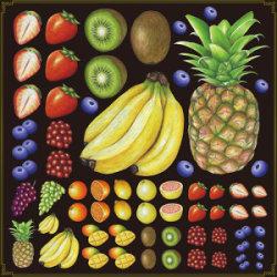 フルーツ(2) 看板・ボード用イラストシール 色々なフルーツ(W285×H285mm)