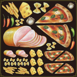 イタリアン(ピッツァ・ハム等) 看板・ボード用イラストシール (W285×H285mm)