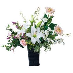 【送料無料】ツインカサブランカ (造花) 高さ55cm 光触媒 (460A120)
