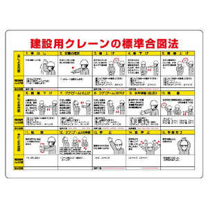 建設用クレーンの標準合図法標識 サイズ:450×600 (327-32A)