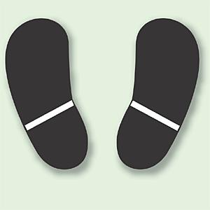 路面貼用ステッカー 黒色 足跡マーク アルミステッカー 天地190×0.3mm厚 (819-90)