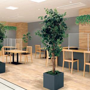 食堂のアクリルパーテーション設置事例写真