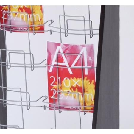 A4サイズのパンフレットやカタログをしっかり展示・収納できます。下段の木製ボックスはホワイトカラーで清潔感があります。