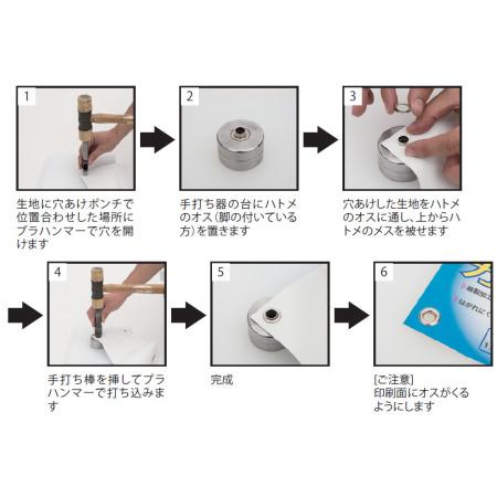 ハトメ加工ツールと手順