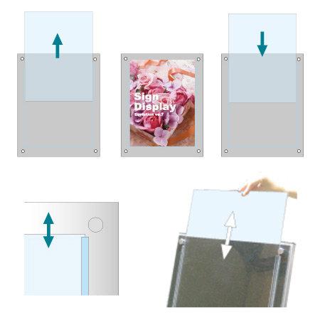 ■上部が空いているので交換が簡単。ポスター交換の負担を軽減します。