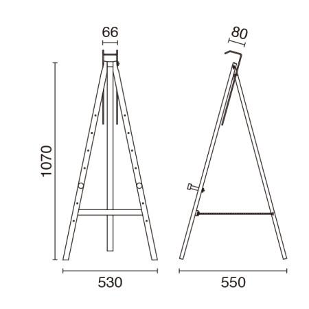 三角イーゼルの寸法図