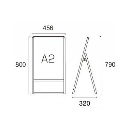 ■A2サイズ・片面の寸法図