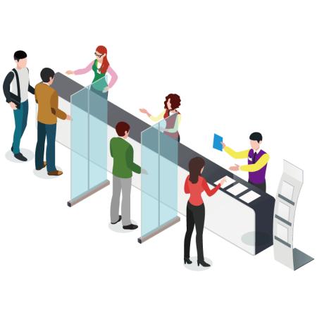 ■受付カウンターで並ばれるお客様同士の間仕切りパーテーションとして。