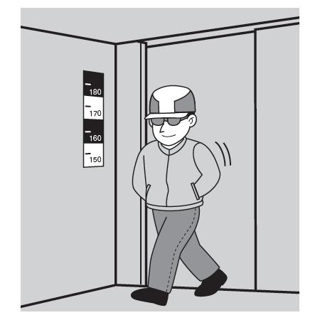 ■店舗入口で犯人の身長確認に