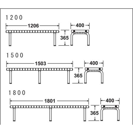 ホームベンチ 寸法図