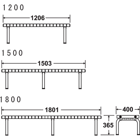 ホームベンチ ステンレス製 寸法図