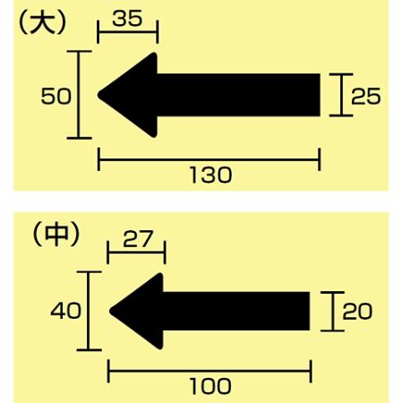 ■寸法図(mm)/JIS配管識別方向ステッカー 矢印型 大サイズ/中サイズ